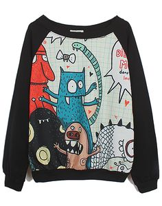 Black Long Sleeve Cartoon Monster Print Sweatshirt - Sheinside.com