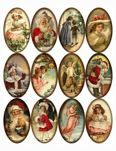 Christmas 12 large vintage pictures oval stickers scrapbooking crafts glossy #handmade