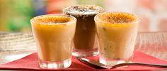 Crème Brûlée in three flavours: vanilla, orange and chocolate