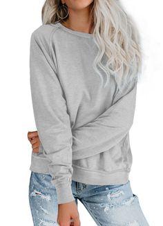 iGENJUN Womens Casual Sweatshirts Long Sleeve Cowl Neck Pullover Tops with Pocket,L,Light Grey