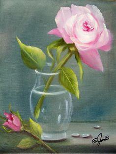 Pink Rose In Glass Painting Joni mcpherson