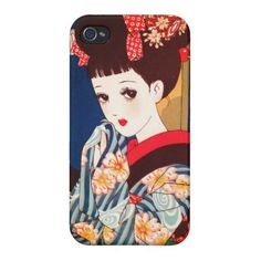 Cool japanese Nakahara tender manga lady geisha Cover For iPhone 4