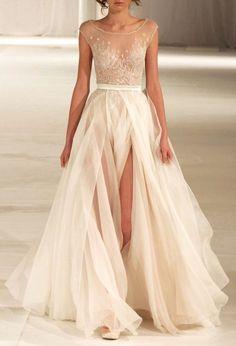creme wedding dress