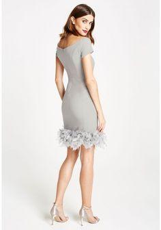 LBD Margot Feather Trim Bodycon Bardot Dress in Grey