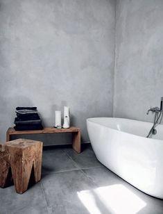 Badewanne Holz Betonwand minimalistischen Badezimmer Idee Source by