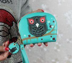 New Arrival Cute Owl Stereoscopic Rounded Zipper Long Women Wallet Clutche