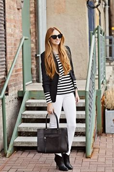 white jeans + stripes