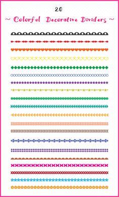 20 Colorful Digital Borders, Digital Dividers, Clip Art Borders, Clip Art Dividers, Decorative Borders, Text Borders, Border Clipart.  Scrapbooking, journals, banners, artwork and designs.