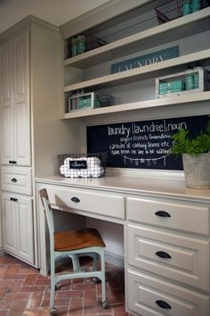 The laundry has plenty of drawers, shelves and cabinets, and a desk that also comes in handy for sorting and folding laundry.