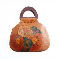VINTAGE, peint à la main en cuir Beige sac / sac à main / sac à main avec Leater gère, grand Motif Floral, tous en cuir, belle qualité