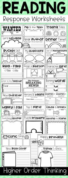 Higher order thinking reading response worksheets. Get your kiddos' creativity flowing with this HOTS Reading Response Worksheet Pack. It is jam-packed with engaging and unique reading response activities which are designed to encourage students to use th Reading Group Activities, Reading Strategies, Reading Skills, Teaching Reading, Reading Comprehension, Teaching Ideas, Comprehension Strategies, Reading Groups, Reading Resources
