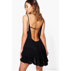 Boohoo Petite Petite Lydia Low Back Tiered Sundress ($26) ❤ liked on Polyvore featuring dresses, black, sundress dresses, cocktail dresses, petite dresses, petite sun dresses and body con dress