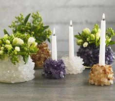 Quartz candleholder and vase.