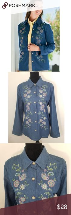 "The TOG Shop Blue Paisley Embroidered Denim Jacket This embroidered denim jacket features delicate paisley and floral embroidery flat makes this soft, lightweight jacket truly unique. Features a button-front and side seam pockets (as shown in the 6th photo). 100% Cotton. In good pre-owned condition. No holes/rips. No stains/marks. Smoke-free home. Feel free to ask. Approx. Laid Flat Measurements: Pit to pit - 22 1/2"" Length - 27 1/2"" shoulder to bottom hem THE TOG SHOP Jackets & Coats"