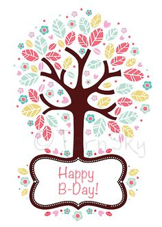 Downloadable Birthday Card - Printable and festive with a colorful Red, Green & Tan tree. Awesome DIY 5x7 folded card, blank inside. by TornSky on Etsy