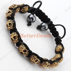 1PC Golden Skull Hematite Ball Beads Macrame Men's Bracelet Hip Hop Punk Gothic