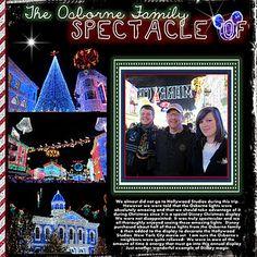 Osborne Lights Disney Scrapbook Page Layout #DisneyScrapbooking #DisneyMemories