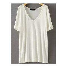 SheIn(sheinside) V Neck Loose White T-shirt (215 CZK) ❤ liked on Polyvore featuring tops, t-shirts, white, white cotton t shirts, short sleeve t shirts, white tee, short sleeve tees and loose t shirt