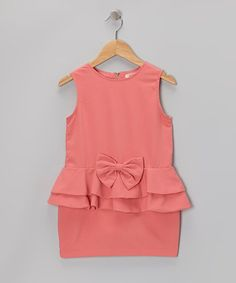 Take a look at this Pink Bow Ruffle Drop-Waist Dress - Toddler & Girls by Paulinie on #zulily today!