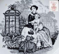 Antique Faience Black Transferware Plate Mother & Children in Garden with Birdcage w/ Strawberry Border no. 12