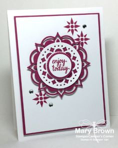 2017  Favorite New Incolor | StamperCamper's Corner      Set(s):Eastern Beauty  Paper:Whisper White, Berry Burst  Ink:Berry Burst  Other:Eastern Medallion Thinlits, Layering Circles Framelits, 1″ Circle Punch, Metallic Enamel Shapes, Dimensionals