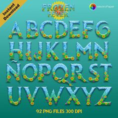 FROZEN FEVER - Full Alphabet Clipart - 92 png files high resolution 300 dpi…