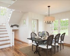 contemporary dining room features a pottery barn clarissa glass