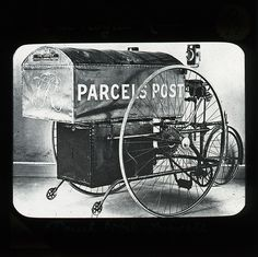 'Parcels Post' tricycle. Old Photos, Vintage Photos, General Post Office, Mail Call, Mail Delivery, Decorated Envelopes, Mail Boxes, You've Got Mail, Going Postal