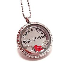 Couples Living Locket / Anniversary Floating Locket / Names and Date Floating Charm Locket