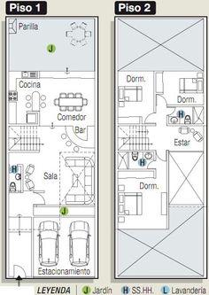 Planos para construir casa en 160 m² pegado a un cerro rocoso, cuyo frente mide 7,5 m. Se ha planteado 3 niveles , el primer piso tiene po...