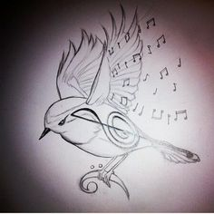 Bird/Music Note tattoo