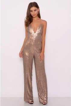 Image for Gold Sequin Jumpsuit Rose Gold Jumpsuit, Prom Jumpsuit, Sequin Jumpsuit, Jumpsuit Elegante, 70s Fashion, Fashion Outfits, Silvester Outfit, 70s Mode, Bridesmaid Dresses