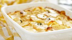Classic scalloped potatoes like Grandma used to make - milk can also be substituted for cream.
