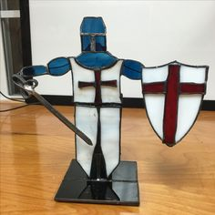 Stained Glass Knight - this free-standing ornament was created for a friend's son who loves everything renaissance. Made by me, Vicky True-Baker.