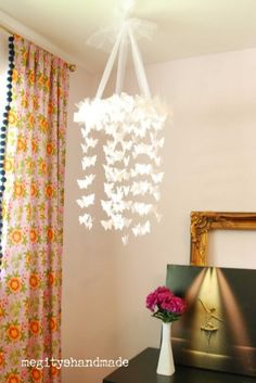 White Butterfly Chandelier DIY Kit – Mobile, Nursery, Party, Wedding Decor