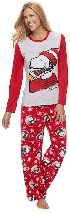 Women s Jammies For Your Families Peanuts Snoopy   Woodstock Sledding Sleep  Top   Microfleece Bottoms Pajama Set 9f9d0124a