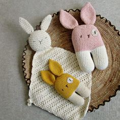 I don't have a thing for bunnies. It's just that they have the best ears for babies to grab and play with. These three are currently in my shop. My 3-year-old says it's a daddy, a mommy, and a baby.