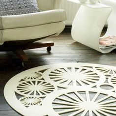 White Felt Rug I D Get This Dirty Laser Cut Painted