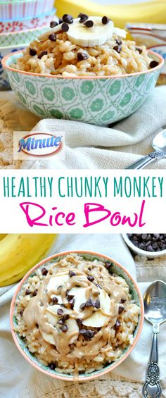 In JUST 3 MINUTES you can enjoy an easy breakfast, lunch, or snack on-the-go! Peanut butter, banana, and a garnish of chocolate make this Healthy Chunky Monkey Rice Bowl a sweet and satisfying option. LunchWithMinute #ad @MinuteRiceUS