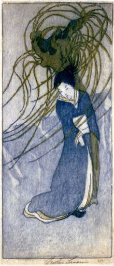 """Aoyagi,"" by Bertha Lum, 1907. Bertha Boynton Lum (1869 – 1954), an American artist known for helping to make Japanese and Chinese woodblock prints known outside of Asia."