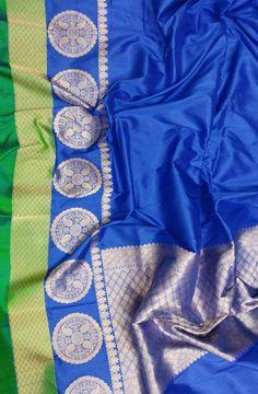 Blue Handloom Banarasi Pure katan silk Plain saree