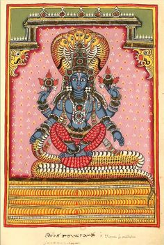 "Vishnu Adimurti. ""Divinités indiennes"", Two albums of 195 illustrations. 1720-1730, Southern Andhra Pradesh (north of Madras), bordering Karnataka."