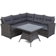 Mayfair Premium Rattan 5 Seater Lounge / Dining High Back Sofa Set Mixed Grey Weave
