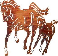 Mare & Foal 32-inch Western Metal Wall Art by Kathryn Darling rustic-wall-decor