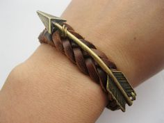Bracelet-antique bronze arrow real leather bracelet,arrow cuff