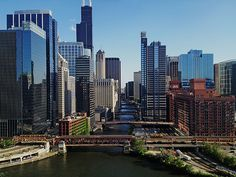 View of Chicago River and its bridges from Wolf Point. Wolf Point is the location at the confluence of the North, South and Main Branches of the Chicago River in the present day Near North Side, Loop, and Near West Side community areas of Chicago.