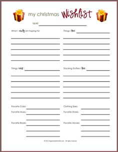 Wish Lists ~ Printables for Boys, Girls, & Everyone | Organizing Homelife