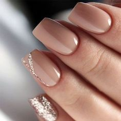 Nude Short Glitter Accent Finger nail Matte Shiny Acrylic Coffin Long Nail Ideas Manicure - French tip - Square shaped long nails - cute summer fall spring fingernails - gel nails - shellac - Gorgeous Nails, Pretty Nails, Beautiful Nail Art, How To Do Nails, My Nails, Matte Nails, Hair And Nails, Shiny Nails, Fingernail Designs