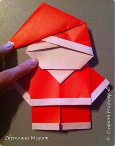 DIY origami santa clause using 2 square Origami Design, Instruções Origami, Origami Cards, Origami Dragon, Oragami, Origami Instructions, Origami Tutorial, Christmas Origami, Christmas Crafts
