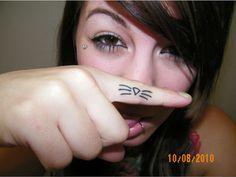cat whisker finger tattoo, love!